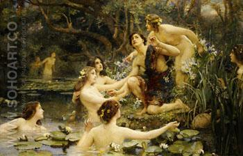 Hylas and the Water Nymphs - Henrietta Rae reproduction oil painting