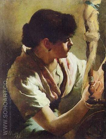 Spinning 1881 - Henrietta Rae reproduction oil painting