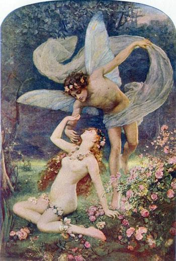 Zephyus Wooing Flora c1888 - Henrietta Rae reproduction oil painting