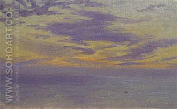 Seascape at Sunset c1900 - Henry Bouvet reproduction oil painting