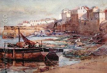 Old Harbour Newlyn - Henry Meynell Rheam reproduction oil painting