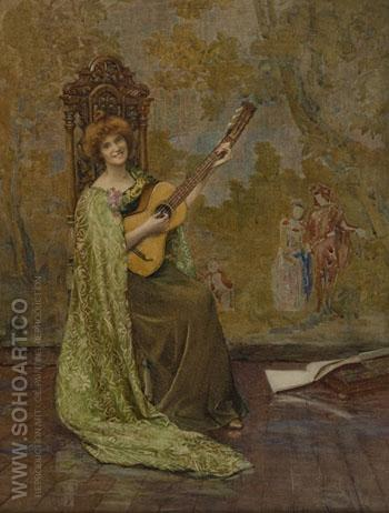 The Guitar Player 1904 - Henry Meynell Rheam reproduction oil painting