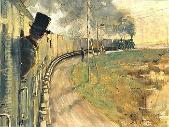 In the Train - Johan Axel Gustaf Acke reproduction oil painting