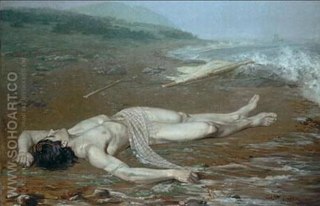 Leanders Body Washed Ashore 1884 - Johan Axel Gustaf Acke reproduction oil painting