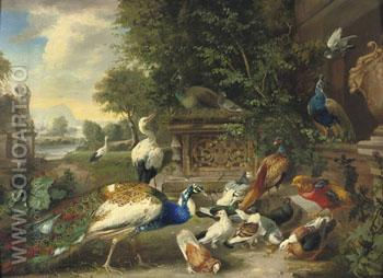 A Feathered Feast - Julius Scheurer reproduction oil painting