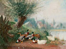 Ducks at the Pond Near A Mill - Julius Scheurer reproduction oil painting