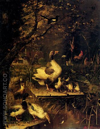 Ducks by the Waters Edge - Julius Scheurer reproduction oil painting
