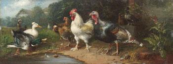 Federvieh Am Dorfteich - Julius Scheurer reproduction oil painting