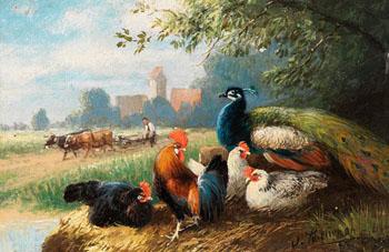 Federvieh Am Ufer - Julius Scheurer reproduction oil painting