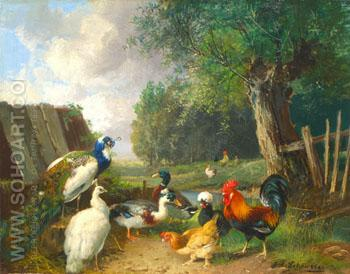 Peacocks Ducks and Chickens Near A Pond - Julius Scheurer reproduction oil painting