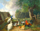 Peacocks Ducks and Chickens Near A Pond - Julius Scheurer