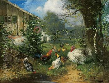Poultry In a Garden - Julius Scheurer reproduction oil painting