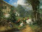 Poultry In a Garden - Julius Scheurer