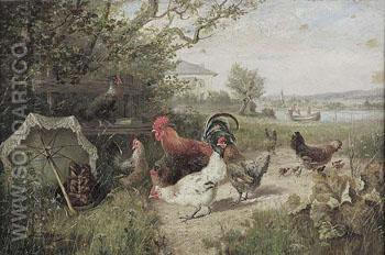Rooster and Chickens in a Field - Julius Scheurer reproduction oil painting