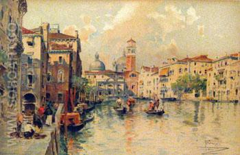 Venice Scene Chromolithograph Print Italy - Paolo Sala reproduction oil painting