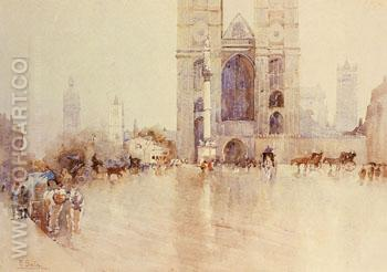 Westminister Abbey with the Houses of Parliament and Big Ben in the Distance - Paolo Sala reproduction oil painting