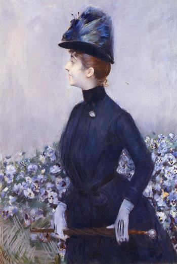 La Femme Aux Fleurs - Paul Cesar Helleu reproduction oil painting