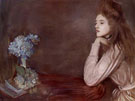 Lioness with Blue Hydrangea - Paul Cesar Helleu reproduction oil painting