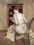 Madame Paul Helleu Seated at Her Secretaire Seen from the Back c1900 - Paul Cesar Helleu reproduction oil painting