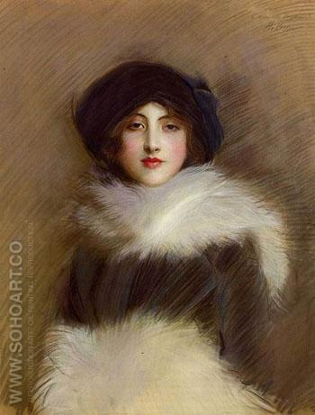 Mademoiselle Vaughan c1905 - Paul Cesar Helleu reproduction oil painting