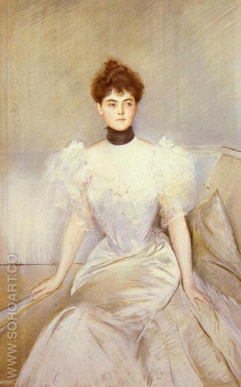 Portrait of a Lady with a Fan - Paul Cesar Helleu reproduction oil painting