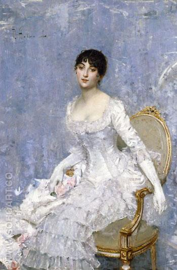 Young Lady in White Around 1880 - Paul Cesar Helleu reproduction oil painting