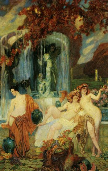 Jeunes Femmes A La Vasque Allegorie De Lautomne - Paul Jean Gervais reproduction oil painting
