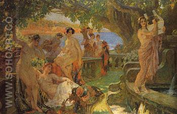 Nymphs Eating Fruits and Making Music on a Balcony in an Arcadian Landscape - Paul Jean Gervais reproduction oil painting