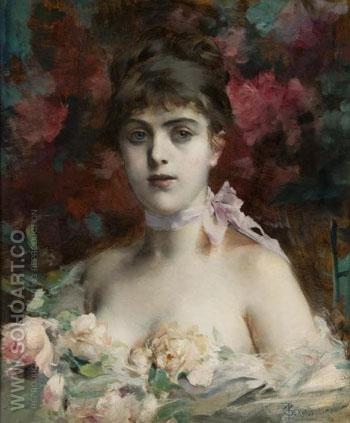 Portrait of a Striking Beauty - Paul Jean Gervais reproduction oil painting