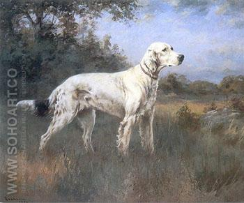 An English Setter in a Wooded Landscape 1922 - Percival Leonard Rosseau reproduction oil painting
