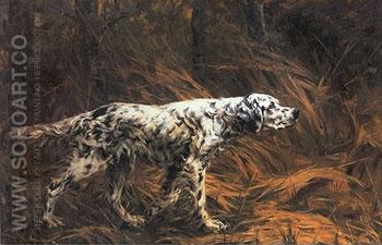 English Setter in a Field 1900 - Percival Leonard Rosseau reproduction oil painting