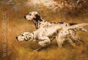 English Setters on Point - Percival Leonard Rosseau reproduction oil painting