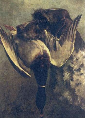 Griffon Retrieving a Mallard 1914 - Percival Leonard Rosseau reproduction oil painting