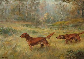Irish Setters on Point - Percival Leonard Rosseau reproduction oil painting