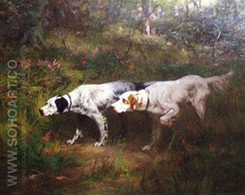 Setters Standing Woodcock 1908 - Percival Leonard Rosseau reproduction oil painting
