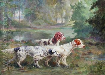 Three Setters on Point - Percival Leonard Rosseau reproduction oil painting