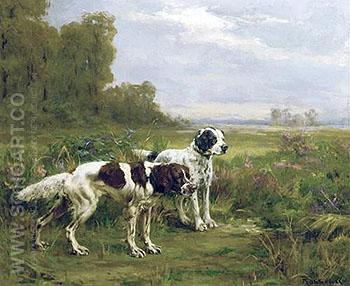 Two Englsih Setters 1906 - Percival Leonard Rosseau reproduction oil painting