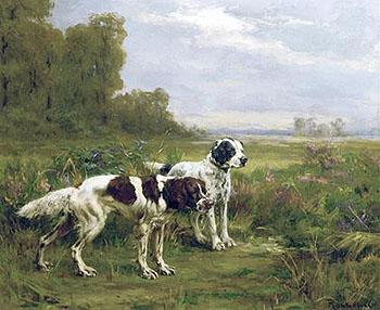 Two Englsih Setters 1906 - Percival Leonard Rosseau reproduction oil painting