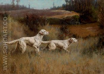 Two Setters on A Point 1913 - Percival Leonard Rosseau reproduction oil painting