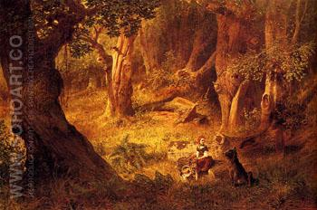 Little Red Riding Hood and The Big Bad Wolf - Richard Hermann Eschke reproduction oil painting