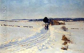 A Winter Morning 1888 - Sigvard Marius Hansen reproduction oil painting
