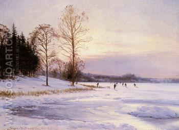 Skaters on A Frozen Pond 1905 - Sigvard Marius Hansen reproduction oil painting