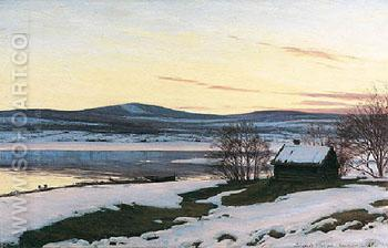 Vinterdag I Dalarna 1916 - Sigvard Marius Hansen reproduction oil painting