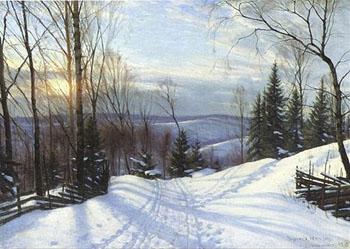 Winter Landscape 1919 - Sigvard Marius Hansen reproduction oil painting
