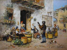 A Market Scene in Rome - Vicente March Y Marco reproduction oil painting
