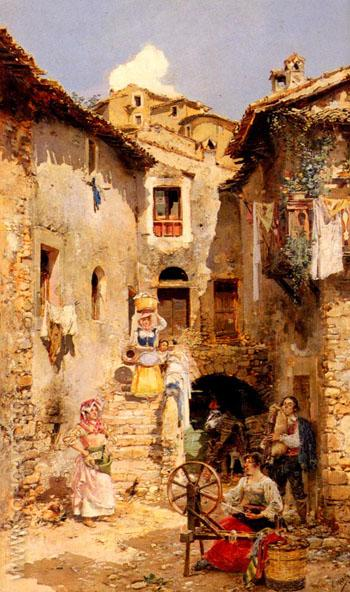 A Roman Courtyard in Summer - Vicente March Y Marco reproduction oil painting