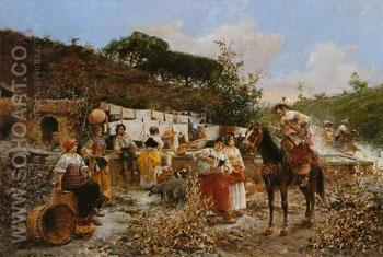 Lavanderas Washerwomen - Vicente March Y Marco reproduction oil painting