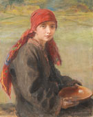 Hustsul Girl - Teodor Axentowicz reproduction oil painting