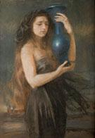 Niebieskim Dzbanem 1904 - Teodor Axentowicz reproduction oil painting
