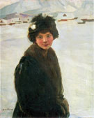 Portrait of A Young Girl in Winter Landscape - Teodor Axentowicz reproduction oil painting